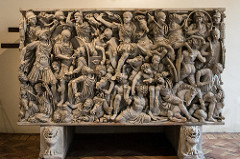 Ludovisi Battle Sarcophagus  Late Imperial Roman. c. 250 C.E. Marble Change the ideas about cremation and burial. Extremely crowded surface with figures piled on top of each other. Figures lack individuality, confusion of battle is echoed by congested composition, and Roman army trounces bearded and defeat Barbarians.