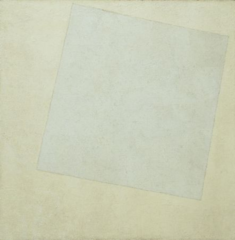 Malevich Suprematist Composition, White on White, 1918, Nonobjective abstract art  • Malevich, as did Mondrian, looked for a universal and pure art that could represent the essence of life, no external referenced • Supreme reality is pure feeling which attaches to no object, like Brancusi • The square, straight line and rectangle, perhaps referening the balancing between nature and spirituality  • Wanted a pure language of shape and color, to which everyone could respond to with feeling • He rejected illusionistic realistic art that the government suppressed on him which horrified him • Focus on form in itself