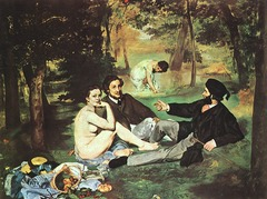 Manet, Le Dejeuner sur l'Herbe 1863, Introduction to Impressionism -everyday modern subjects, contemporary clothing -not idealized or romanticized  -Courbet, Millet, looking at real people, modeling from real people not sculptures of antiquity -much looser execution, subtle variations of light and dark, precursor to impressionism  --history painting large scale but real subjects  • Played important role in the development of impressionism  • Depicts two women, one nude, and two clothed men enjoying a picnic of sorts  • Manet based all of his foreground figures on living people.  • The seated nude is Victorine Meurend (manet's favorite model)  • And the gentlemen (one his brother) and the other a friend, all dressed in contemporary, fashionable Parisian attire of the 1860s and the foreground nude is a distressingly UNIDEALIZED figure type but also seems at ease, gazing directly at the viewer without shame or flirtatiousness  • This painting outraged the public, different from anonymous idealized figure in an idealized setting, this seems to represent ordinary men with a promiscuous woman in the park  • Naked not nude  • Has a multitude of referces to history painting, portraiture, pastoral scenes, nudes  • Very loose manner of painting, of background contrasts the harshly lit foreground trio and the pile of discarded female attire and picnic food at lower left • Form, rather than a matter of line, is only a function of paint and light • Manet claimed the chief factor in painting is light, the stiyle is very flat, unorthodox subject matter