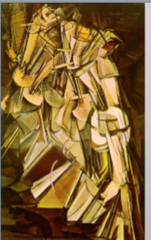 Marcel Duchamp Nude Descending a Staircase 1912 Futurism  • Presents futurist's interest in form and movement, the futurist manifesto in Italy, relating to decline of Italy's social and economic condition • Artists like Boccioni, Balla wanted to express in interest in dynamism, mechanical production, the future • Also present in the cubist interest in dissecting form and purely studying form and not necessarily color  • Done for the cubists, but cubist thought is more in the realm of futurism • Hybrid of futurism and and cubism • Conveys the rhythm and movement of figure merging into itself • Emphasize dynamism,  • Depicts motion by successive superimposed imagery • Painting of Boccioni's Unique forms of Continuity in space