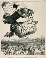 Nadar Raising Photography to the Height of Art Honoré Daumier. 1862 C.E. Lithograph Nadar, one of the most prominent photographers in Paris at the time, was known for capturing the first aerial photographs from the basket of a hot air balloon.