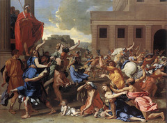 Nicholas Poussin: The Abduction of the Sabine Women, c1633-34, Baroque but Classical influence  • The Romans invited the neighboring Sabines with the intention of forcibly retaining their young women as wives  • Romulus raised his cloak as the pre-arranged signal for the warriors to seize the women • Brilliant subtle variety of color  • Rigid order and composition, classical poses  • Sensual, dramatic rich in color (similar to Titian) Venetian High Renaissance,  • Shows an example of Poussin painting in the grand manner which he said consisted of four things: subject matter/ theme, thought, structure and style  • The subject matter should be grand, as are battles, heroic action, and divine things  • Every limb of the body should hold its natural space, proportionagte to the whole body, harmonious juxtaposition of light and shadow  • Should be graceful and heroic