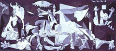 Pablo Picasso Guernica 1937 Cubism • Oil painting, done in gray, blacn an white, is known as one of the most moving a powerful antiwar painting in history  • Large mural shows the suffering of people, animal and buildings wrenched by violence and chaos • The apinting is believed to be a response to the bombing of Guernica a Basque country village in northern Spain, by German and Italian warplanes  • Center shows a horse falling in aga=ony as it had been run through by a spear • Daed soldier beneath him • A light bulb blazes in the shape of an evil eye over the suffering horse's head, word lightbulb in Spanish in bombilla, bomba is bomb in Spanish  • Fragmented forms, study of form purely, no sense of foreground or background, as in cubism, neutral colors to emphasize the focus of form • Random juxtaposition of elements, yet symbolic • Fragmentation of objects and the dislocation of anatomical features • The Cubist fragmentation gave visual form to the horror • The severity and darkness also evokes the motions and despair of the situation depicted