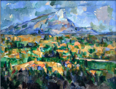 Paul Cezanne Mont Sainte-Victoire 1900-04, postimpressionism (analytical)  • near his house in Aix-en-Provence • he sought a lasting structure behind the formless and fleeting visual information the ye absorbs  • Cezanne had more of an analytical approach than did the other imrepssionists  • He wanted to order the lines, planes and colors that comprised nature • He sought to achieve Poussin;s effects of distance, depth, structure, and solidity not by using traditional perspective and chiaroscuro but by recording the color patters an optical analysis of natrure • Creating an illusion of three-dimensional form and space,  • Cool colors tend to recede whereas warm colors advance • By applying to the canvas small patches of juxtaposed colors, some advancing and some receding, Cezanne created volume and depth in his works  • Modulated the color intensity or saturation to create depth  • The main space stretches out beyond and behind the canvas plane and included numerous small elements, roads fields , houses each scene from a slightly sifferent viewpoint • The relative proportion of objects vvary rather than being fixed by one or two point perspective, such as that normally found in a photograph  • Cezanne took the shifting of color in impressionism to the next level with clearly defined planes that compose the objects and space in the scene • Ceanne replaces the transitory visual effects of shiftin g colors and atmospheric conditions with careful analysis of color lines and planes