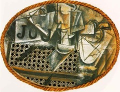 Picasso Still Life with Chair-Caning 1912 , Cubism  • Introducing the found object into high art, very interesting, precurses Du Champ and dada • A collage is a composition of bits of objects, or cloth glued to the surface • Including utilitarian objects in art has never been done before • The forms are dissected and broken dow, strict study of form itself, neutral coloring to make sure the viewer knows this is about form in itself • Employing objects that artists should not expect to but into painting, framed with a piece of rope, not typical use of artistic elements • This is a pitning in which the artist imprints a pattern of can chair seat on the canvas and then pastes a piece of oil cloth on it  • Challenges viewer's understanding of what art is, the char caining is real but is also representational in the sense that it repsents the chair • Fragmentation, artist eliminates illusionistic qualities  • The word JOU, journal in france, or jouer, to play, he is playing with art and the viewer's expectations, tension between whats represented and representation