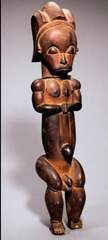 Reliquary figure (byeri) Fang peoples (southern Cameroon). c. 19th to 20th century C.E. Wood The Fang figure, a masterpiece by a known artist or workshop, has primarily been reduced to a series of basic shapes—cylinders and circles.