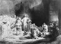 Rembrandt (Dutch): Christ with the Sick Around Him, Receiving the Childer 1649 o Rembrandt's mastery of the new printing making medium of etching is evident in his expert use of light and dark to draw attention to Christ as he preaches ompassionatey to the blind and lame  o Rembrandt's virtuosity (great skill in art) also extended to the graphic media, in particular to etching, etching allowed greater freedom than engraving in drawing the design o For etching, the printmaker covers a copper plate with a thin layer of wax or varnish o The artist incises the design into the surface with a pointed tool, exposing the metal below but not cutting into its surface o The printer then immerses the plate in acid, which etches, or eats away the exposed part of metal  o The medium's softness gives etchers greater carving freedom than woodcutters and engravers have working directly with more resistant mediums like wood and metal  o Even if Rembrandt didn't get famous for painting, his prints were enough,  o This is one of his most celebrated etchings, sold for a very high price  o Ued both engraving and etching to produce the scene  o As a member of the Dutch Republic, and a supporter of the Protestants, he, as he does with all of his religious works, presented not the celestial triumph of the Catholic Church, but the humility and humanity of Jesus  o Christ appears in the center preaching compassionately to the blind lame, and the young  o The tonal range of the print is impressive, at the right the figures are in deep shadow, at the left they are covered in light, not natural light but the illumination radiating from Christ himself  o Biggest achievement in etching