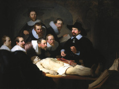 Rembrandt (Dutch): The Anatomy Lesson of Dr. Tulp, 1632 Dutch Republic Baroque Art 17th CEntury  o Most impotant characteristic: the characterfulness of each person, composition is weak, but you can see his true interest • Rembrandt uses an unusual composition to portray members of Amsterdam's surgeons' guild clustered together on one side of the painting as they watch Dr. Tulp dissect a corpse • Painted shortly after he arrives in Amsterdam  • He clusters the members of the surgeons' guild together on the paintings left side (who commissioned the painting)  • In the foreground is the corpse that Dr. Tulip is dissecting  • Rembrandt diagonally places and foreshortens the copse activating the space by disrupting the strict horizontal, planar orientation found in traditional portraiture  • The students are depiced, although identical attire, their poses and facial expressions show varying degrees of intensity, who watch Dr. Tulip's demonstration, or ignore it • At the apex of the triangular composition of bodies, looks out a viewer instead of at the operating table  • Another directs his attention at a book at the corpse's feet  • Innovative approach to portraiture, made it when he was just 26