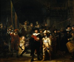 Rembrandt (Dutch), THe Night Watch, 1642, Dutch Republic Baroque 17th Century o Rembrandt amplifies the complexity and energy of the group portrait in the Night Watch o Rembrandt uses light in a dramatic way, enhancing the image, the painting's darkness is actually due to the varnish the artist used which darkened over time, not the correct time of day  o Two officers and 16 members of the militia contributed to Rembrandt's commission fee o Despite the prominence of the girl, her identity is uncertain  o Night Watch was one of the 6 paintings by different artists of various groups commissioned around 1640 for the Musketeers Hall in Amsterdam, the most prostegious space in the city  o Captures the excitement and frenetic activity of the men preparing for the parade  o Rather than presenting men in an orderly fashion, he preferred ti portray scurrying about in the act of organizing themselves, thereby animating the image  o He also portrays the three most important stages of using a musket: loading, firing, and readying the weapon for reloading