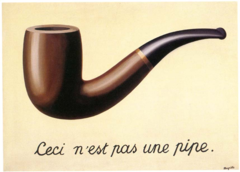 Rene Magritte, The Treachery of Images, 1928, 1929 , Surrealism  • Relies on irrationality, depicting the irrational that manifests in dreams, tells about the actual human being  • Freud Carl Jung, inner exploration, the dream manifest colelective unconscious • This is not a pipe, discrepancy between the image and caption  • What is this? Viewer does not know, viewer irrationality, dreams  • Insertion of language: ties to Picasso, flat
