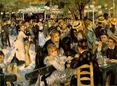 Renoir, The Moulin de la Galette, 1876, Impressionism • Another facet of the new industrialized Paris that drew the Impressionists' attention was the leisure activities of its inhabitant  • Scenes of dining, dancing, the café-concert, the opera the ballet and other forms of urban recreation  • A reaction against the brutal chaotic transformation or urban paris, modernism: presenting time as it is now  • With the advent of set working hours, people's schedules became more regimented, allowing them to plan their favorite pastimes  • Le Moulin de la Galette depictsthrongs of people gathered in a popular Parisian dance hall • Some rowd around, others dance energetically  • Renoir dapples the whole scene with sunlight and shade, artfully blurred into the figures to produce the effects of floating and fleeting light that the impressioniss cultivated  • Unposed placement of the figures suggest a continuity of space, spreading in all directions, not limited by the frame, positioning the viewer as a participant not an outsider  • Classical art tried to express universal and timeless qualities, impressionism tried to depict the opposite the incidental, momentary passing aspects of reality, in reacting to the chaotic transformation of urban Paris