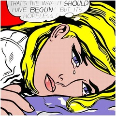 Roy Lichtenstein Hopeless 1963 Popart  • Uses commercial art as a subject matter in painting, not interested in loft intellectual stuff or introspection, connecting art to the real world • It does not like a painting of something, but it is the thing itself • Comic books appealed to Lichensteain because they were of major importance to American consumerism and popular culture  • Meant to be read and then discarded  • The pop art movement immortalized their images on large canvases  • Excerpted an image from a comic book, a form of entertainment meant to be read and then discarded and immortalized it into large canvas • Comment on consumer culture • Unmodulated color areas, retained dark outlines, typical of the style of comic books  • Also used benday dots, called attention to the aspects of mass production  • Transferred the visual shorthand language of the comic book to the realm of monumental painting