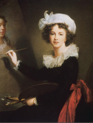 Self-Portrait  Louise Élisabeth Vigée Le Brun. 1790 C.E. Oil on canvas The painting expresses an alert intelligence, vibrancy, and freedom from care. This, dispite the fact that Vigée-LeBrun had been forced to flee France in disguise and under cover of darkness during the early stages of the Revolution