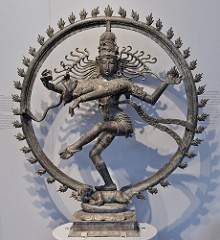 Shiva as Lord of Dance (Nataraja) Hindu; India (Tamil Nadu), Chola Dynasty. c. 11th century C.E. Cast bronze It combines in a single image Shiva's roles as creator, preserver, and destroyer of the universe and conveys the Indian conception of the never-ending cycle of time. Although it appeared in sculpture as early as the fifth century, its present, world-famous form evolved under the rule of the Cholas.