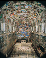 Sistine Chapel ceiling and altar wall frescoes Vatican City, Italy. Michelangelo. Ceiling frescoes: c. 1508-1512 C.E.; altar frescoes: c. 1536-1541 C.E. Fresco The paintings depict nine stories from the Christian Bible's Book of Genesis, including the most famous image, the Creation of Adam (right). Taken together, the paintings are considered one of the world's greatest art masterpieces. Their realistic and extremely detailed depictions of some of Judaism's and Christianity's most famous moments are a wonder to all who see them.