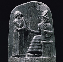 The code of Hammurabi Babylon (modern Iran). Susain. c. 1792-1750 B.C.E. Basalt. In this stone is carved with around 300 laws, the first know set of ruler enforced laws. (Stone, carved, laws, inscriptions)