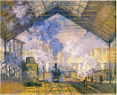 The Saint-Lazare Station Claude Monet. 1877 C.E. Oil on canvas  The effects of color and light rather than a concern for describing machines in detail. Certain zones, true pieces of pure painting, achieve an almost abstract vision. An ideal setting for someone who sought the changing effects of light, movement, clouds of steam and a radically modern motif.