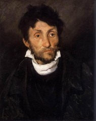 Theodore Gericault Insane Man-Kleptomaniac 1822, Romantic  Mental aberration and irrational states of the mind could not fail to interest the rebels against Enlightenment rationality  Gericault examined the influence of mental states on the human face, that a face accurately revealed character, especially madness He made many studies of the inmate of hospital and institutions for the criminally insane  Scientific and artistic curiosity often accompanied the morbidity of the Romantic interest in derangement and death