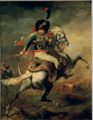 Theodore Gericault, Officer of the Imperial Guard, 1812 , Romantic -abandoning austere nature of neoclassicism, interest in the irrational, the depraved, death -focus on movement, painterly motions to evoke emotions, caught in the act -not the harmonious nature of David's Napoleon at St Bernard's passing in 180 -remniscent of AJ Gros, slight departure from neolassical -not a rational posed horse, but an emotional enraged horse caught in the act