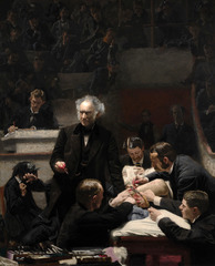 Thomas Eakins, The Gross Clinic, 1875, Realism (american)  -presented the realities of human existence -studied both medical anatomy in Philadelphia  -wanted to paint contemporary subjects, things he saw in real life in the large scale of history paintings -not romanticized or idealized, fcus on realisty  • Brutally realistic depiction of Dr. Samuel Gross in the operating amphitheatre of the Jefferson Medical cCollege in Phili,  • Increasingg faith in scientific and medical process, bloody fingers and scalpel lectures about his surgery on a young man's ;lef • Anesthetist holds a cloth over the patient's mouth, very contemporary thing,  • Not idealized not romantic,  John Singer Sargent The Daughters