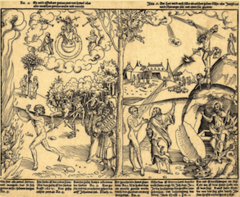 Title/ Designation: Allegory of Law and Grace Artist/ Culture: Lucas Cranach the Elder Date of Creation: c. 1530 CE Materials: woodcut and letterpress