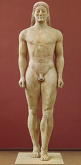 Title/ Designation: Anavysos Kouros Artist/ Culture: Archaic Greek Date of Creation: c. 530 B.C.E. Materials: Marble with remnants of paint
