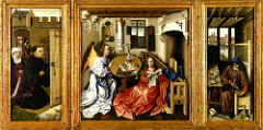 Title/ Designation: Annunciation Triptych (Merode Altarpiece) Artist/ Culture: Workshop of Robert Campin Date of Creation: 1427-1432 CE Materials: Oil on wood