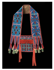 Title/ Designation: Bandolier Bag Artist/ Culture: Lanape (Delaware tribe, Eastern Woodlands) Date of Creation: c. 1850 CE Materials: Beadwork on leather