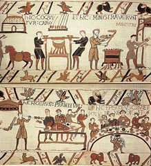 Title/ Designation: Bayeux Tapestry Artist/ Culture: Romanesque Europe (English or Norman) Date of Creation: c. 1066-1080 CE Materials: embroidery on linen