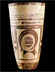 Title/ Designation: Beaker (or bushel) with ibex motifs Artist/Culture: Susa, Iran Date of Creation: 4,200-3,500 BCE Materials: Painted terra cotta