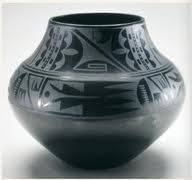 Title/ Designation: Black-on-black ceramic vessel Artist/ Culture: Maria Martínez and Julian Martínez, Tewa, Puebloan, San Idelfonso Pueblo, New Mexico Date of Creation: c. mid-20th Century CE Materials: Blackware ceramic