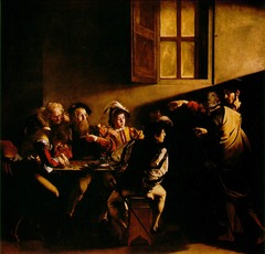Title/ Designation: Calling of Saint Matthew  Artist/ Culture: Caravaggio Date of Creation: c. 1597-1601 CE Materials: Oil on Canvas