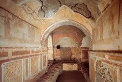 Title/ Designation: Catacomb of Priscilla Artist/ Culture: Rome, Italy; Late Antique Europe Date of Creation: 200-400 CE Materials: excavated tufa and fresco