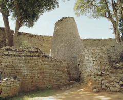 Title/ Designation: Conical Tower and circular wall of Great Zimbabwe Artist/ Culture: Southeastern Zimbabwe, Shona peoples  Date of Creation: c. 1000-1400 CE Materials: coursed granite blocks