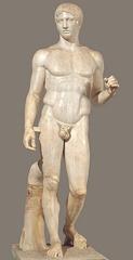 Title/ Designation: Doryphoros (Spear Bearer) Artist/ Culture: Polykleitos Date of Creation: Original 450-440 B.C.E. Materials: Roman copy (marble) of Greek original (bronze)