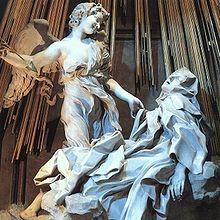 Title/ Designation: Ecstasy of Saint Teresa  Artist/ Culture: Cornaro Chapel, Church of Santa Maria della Vittoria, Rome, Italy, Gian Lorenzo Bernini Date of Creation: c. 1647-1652 CE Materials: Marble (sculpture); stucco and gilt bronze (chapel)