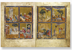 Title/ Designation: Golden Haggadah (Plagues of Egypt, Scenes of Liberation, and Preparation for Passover) Artist/ Culture: Late medieval Spain Date of Creation: c. 1320 CE Materials: Illuminated Manuscript (pigments and gold leaf on vellum)