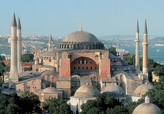 Title/ Designation: Hagia Sophia Artist/ Culture: Constantinople (Istanbul); Anthemius of Tralles and Isidorus of Miletus Date of Creation: 532-537 CE Materials: Brick and ceramic elements with stone and mosaic veneer