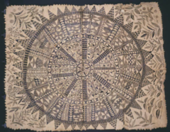 Title/ Designation: Hiapo (tapa) Artist/ Culture: Niue  Date of Creation: c. 1850-1900 CE Materials: tapa or bark cloth, freehand painting