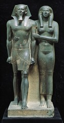 Title/ Designation: King Menkaura and queen Artist/ Culture: Old Kingdom, Fourth Dynasty Date of Creation: c. 2490-2472 B.C.E. Materials: Greywacke