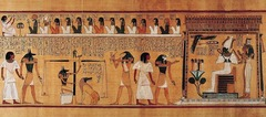Title/ Designation: Last judgment of Hu-Nefer, from his tomb (page from the Book of the Dead) Artist/ Culture: New Kingdom, 19th Dynasty Date of Creation: c. 1275 B.C.E. Materials: Painted papyrus scroll