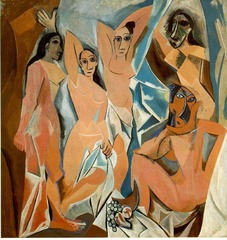 Title/ Designation: Les Demoiselles d'Avignon Artist/ Culture: Pablo Picasso  Date of Creation: 1907 CE  Materials: Oil on canvas