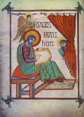 Title/ Designation: Lindisfarne Gospels: St. Matthew, cross-carpet page; St. Luke portrait page; St. Luke incipit page Artist/ Culture: Early medieval (Hiberno Saxon) Europe Date of Creation: c. 700 CE  Materials: Illuminated manuscript, ink pigments, and gold on vellum