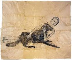 Title/ Designation: Lying with Wolf Artist/ Culture: Kiki Smith, Global Contemporary Date of Creation: 2001 Materials: Ink and pencil on paper