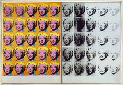 Title/ Designation: Marilyn Diptych  Artist/ Culture: Andy Warhol  Date of Creation: 1962 CE Materials: oil, acrylic, and silkscreen enamel on canvas