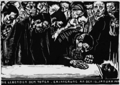 Title/ Designation: Memorial Sheet for Karl Liebknecht Artist/ Culture: Käthe Kollwitz  Date of Creation: 1919-1920 CE Materials: Woodcut
