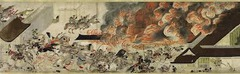 Title/ Designation: Night Attack on the Sanjo Palace  Artist/ Culture: Kamakura Period, Japan Date of Creation: c. 1250-1300 CE Materials: Handscroll (ink and color on paper