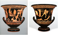 Title/ Designation: Niobides Krater Artist/ Culture: Anonymous vase painter of Classical Greece known as the Niobid Painter Date of Creation: c. 460-450 B.C.E. Materials: Clay, red-figure technique (white highlights)