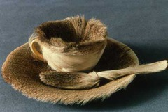 Title/ Designation: Object (Le Déjeuner en fourrure)  Artist/ Culture: Meret Oppenheim Date of Creation: 1936 CE Materials: fur-covered cup, saucer, and spoon