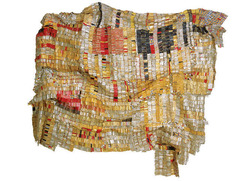 Title/ Designation: Old Man's Cloth  Artist/ Culture: El Anatsui Date of Creation: 2003 CE  Materials: Aluminum and copper wire